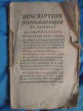 CREUZE-LATOUCHE : DESCRIPTION TOPOGRAPHIQUE DE CHÂTELLERAUD, 1790. Carte dépl.