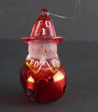Snowman Jingle Bell Firefighter 1 Christmas Ornament F.D.