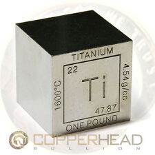 1 x 1 Pound lb .999 Fine Titanium Bullion Cube Element Design 16 oz Square Bar