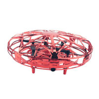 Interactive Mini Drone UFO Motion Sensor Flying Toys 360 Rotating -Red