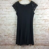 Lauren Ralph Lauren Womens Black Pleated Dress Crochet Sleeves Size Large