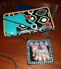 Relic ELEPHANT Designer Leather Wallet Checkbook + Mini Elephant Purse Embellish