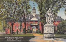 WILLIAMSBURG, VA Virginia  COLLEGE OF WILLIAM & MARY~Wren Bldg  c1940's Postcard