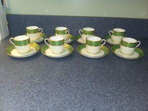 8 Mintons England Green Gold Trim Demitasse Sets