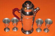 RED BAKELITE HANDLE COCKTAIL SHAKER+4 GLASSES