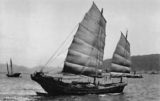 RPPC LIGHTER SINGAPORE CHINA JUNK SHIP REAL PHOTO POSTCARD (c. 1910)