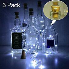3 Pack LED Solar Wine Bottle Light Copper Cork Wire String Fairy Light White