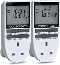Comforday Enchufe de -7 Día Programable Temporizador Interruptor Enchufe Temporizador 2 Pack digital
