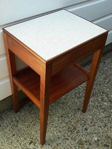 Vintage Mid Century Remploy Teak & Formica Bedside Table with Drawer - Military