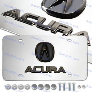 For Dual 3D ACURA Black Pearl Logo Front Stainless Steel License Plate Frame 1pc