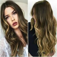 Wave Wig Women Blonde Curly Hair Black Roots Mixed Natural Synthetic Full Long l