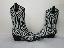 Corkys Black White Zebra Rubber Cowboy Rain Boots Womens Size 10