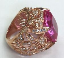 Silver 925 Rose Gold Tone Pink Tourmaline CZ Flower Dome Cocktail Statement Ring