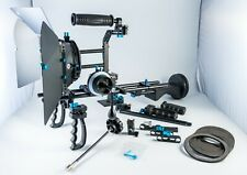 Custom DSLR shoulder rig with Geared Follow Focus, Matte Box, counter weights ++