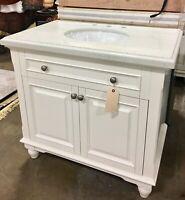 """36"""" White Single Bathroom Vanity Granite Top Sink Wood Cabinet Soft Close Doors"""