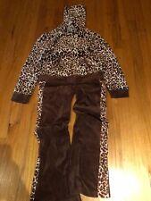 Girls Basic Edition 2 Piece Sweatsuit Brown/Ivory Leopard Print Pants & Jacket s