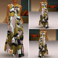Women Sleeveless V Neck Printed Long Maxi Dress Cocktail Evening Dresses Loose