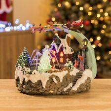 led christmas village scene musical ornament fountain santa sleigh decoration