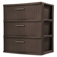 Sterilite 3 Drawer Wide Weave Tower Espresso Durable Plastic Modern Storage