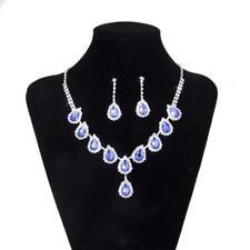 Azul joya cristal lágrima collares pendientes de la boda nupcial prom