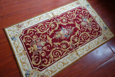 3' X 5' Needlepoint Rug  So Beautiful Burgandy Gold Scroll French Chic Rose #26