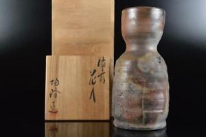 L535: Japanese Bizen-ware Youhen pattern FLOWER VASE Ikebana w/signed box