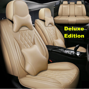 5D Surround Beige Car Seat Covers Full Set Front&Rear Protector For 5-Seats Car
