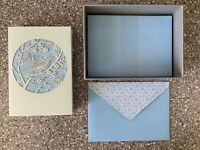 Papyrus  Boxed Set of (10) LASER CUT Bird in Tree Butterflies Blue notecards NIB