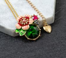 Betsey Johnson Fashion Woman Alloy Rhinestone Enamel Flower Necklaces & Pendants
