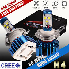 2pcs H4 HB2 9003 80W 8000lm LED Headlight Kit Hi/lo Beams HID 6000K White Bulbs