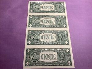 Uncut Sheet 4 $1 Bills 2003A FRN Chicago, IL Enhanced B13