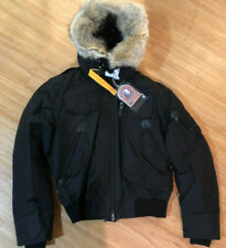 NEW PARAJUMPERS MENS GOBI JACKET BLACK BOMBER S - XL DOWN COYOTE TRIM REMOVABLE