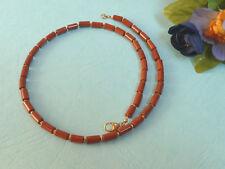 JASPIS ROT FEINE COLIER Halskette 42 cm, 925 Silber verg Kugeln u. Schließe