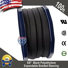 """100 FT. 5/8"""" Black Expandable Wire Cable Sleeving Sheathing Braided Loom Tubing"""