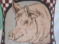 Pillow Shabby Chic Farmhouse Pig 12 in x 12 in Upholstery Tapestry Weave Cotton