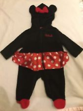 DISNEY BABY GIRLS HOODED 1 PIECE MINNIE MOUSE COSTUME SLEEPER 6 MONTHS NWOT C-3