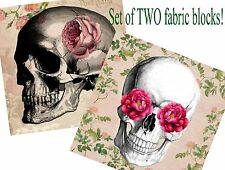 Set of TWO 5x5 Skull and Roses Handmade Craft Fabric Blocks