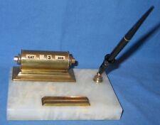 Vintage PARK SHERMAN Brass Perpetual Calendar & Fountain Pen w/14k nib