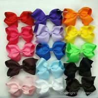 "15pc Cheap Hair Bows Big 5.5"" Boutique Girl Baby Alligator Clip Grosgrain Ribbon"