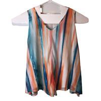 Worthington Womens Plus Size 3X Sleeveless Shirt V Neck Tank Top Blouse Colorful