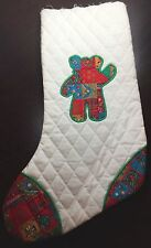 TEDDY BEAR Christmas Stocking Quilted Appliqued VIP Calico UNFINISHED TOP EDGE