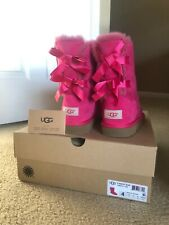 Authentic UGG Bailey Bow Cerise ( Hot ) Pink Boots Youth Sz 4 (approx women's 6)