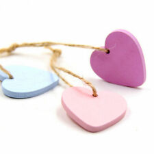 30Pcs Lovely Heart Wooden Hanging Pendants Ornaments Wedding Party Decor Eager