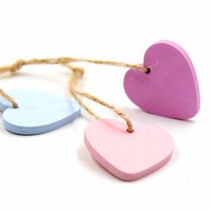 AU_ 30Pcs Lovely Heart Wooden Hanging Pendants Ornaments Wedding Party Decor Eag