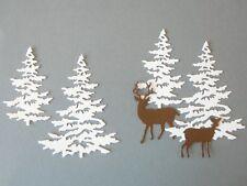 6pc SNOWY PINE TREE & DEER Die Cuts ~ Scrapbooking & Card Making ~ Paper Cut Out