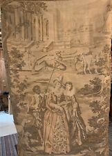"""Vintage French Outdoor Country Scene Woven Tapestry Wall Hanging 48"""" x 72"""""""