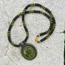 Serpentine Necklace Green Beaded Pendant Seed Bead Gemstone Bib Necklace