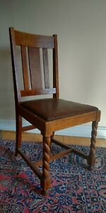 Barley Twist Dining Room Chair, leather seat, English Oak Arts & Crafts Mission