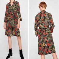 NEW ZARA Basic Women's Stripe Floral Long Sleeve Wrap Dress size M Black AMK