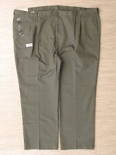 Haggar Great American Khakis Green Cotton Pants Men's Size 56x32 Pleated Front